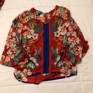 Silk Floral Johnny Was Blouse